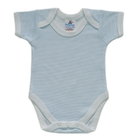 envelope neck short sleeve body suit - blue stripe