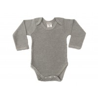 envelope neck long sleeve body suit - grey marl