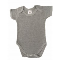 envelope neck short sleeve body suit - greymarl