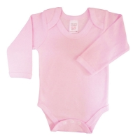 envelope neck long sleeve body suit - pink