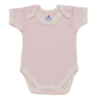 envelope neck short sleeve body suit - pink stripe
