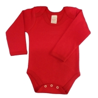 envelope neck long sleeve body suit - red